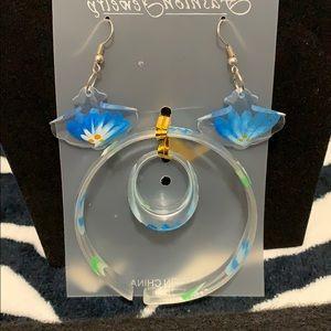 Beautiful blue flowers bracelet earrings ring set